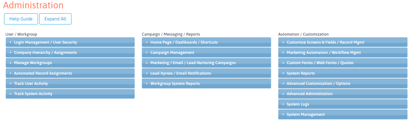 LeadMaster CRM Administration Page