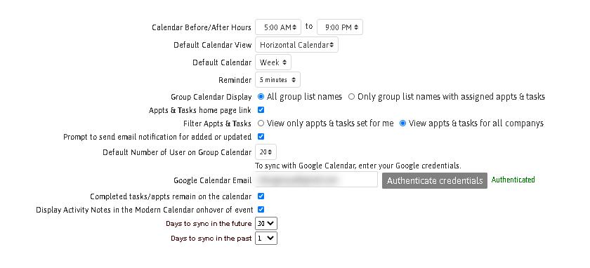 User Calendar Settings